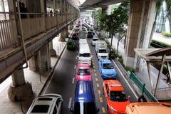 Roads with traffic jams in Bangkok. Royalty Free Stock Image