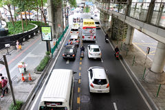 Roads with traffic jams in Bangkok. Royalty Free Stock Images