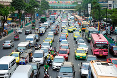 Roads with traffic jams in Bangkok. Royalty Free Stock Photo