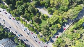 Roads and traffic seen from drone. Streets with cars, traffic seen from drone stock footage