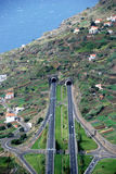 Roads and tunnels on Madeira Island. Motorway, tunnels and valley on Madeira Island Stock Image
