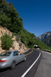 Roads in USA. Car in motion on the road of California Stock Photo