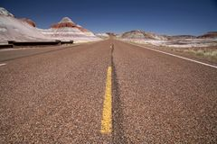 Roads in USA - through desert Stock Photography