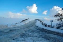 Roads in Winter. Road junction in winter Stock Photo