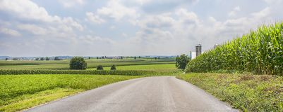 Roadside Agriculture Pastures. Roadside travel panorama of agriculture pastures full of vegetable harvests Stock Photography