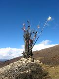Roadside Altar in Tibet. Tibetan altar for safe travels stock photos