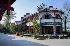 Roadside archaised Chinese building in sunny winter Royalty Free Stock Images