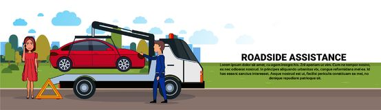 Roadside Assistance Towing Broken Car Over Driver Woman Calling In Insurance Service Horizontal Banner. Flat Vector Illustration Stock Image