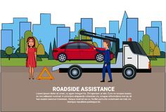Roadside Assistance Towing Broken Car Over Driver Woman Calling In Insurance Service. Flat Vector Illustration Royalty Free Stock Photography