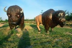 Roadside attraction of American Buffalo replicas Stock Photos