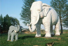 Roadside attraction of gigantic white elephant with baby Stock Image