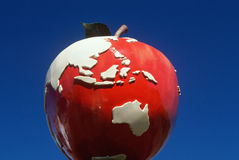 Roadside attraction sculpture of a giant red apple, CT Royalty Free Stock Photography