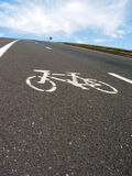Roadside bicycle lane mark close-up Royalty Free Stock Images