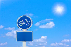 Roadside bicycle sign Stock Image