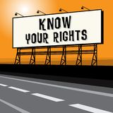 Roadside billboard, business concept with text Know Your Rights. Vector illustration Stock Images