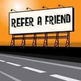 Roadside billboard, business concept with text Refer a Friend. Vector illustration Royalty Free Stock Photography