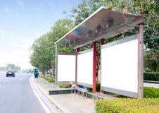 The roadside billboards. Bus station stock images