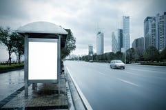 The roadside billboards. Bus station stock image