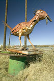 Roadside bird made out of scrap metal along route 54 in Southern New Mexico Stock Photos