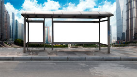 Roadside bus stop billboards Royalty Free Stock Photography