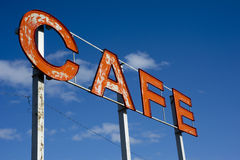 Roadside cafe sign. Worn down sign for a cafe on the side of a country highway Royalty Free Stock Photography