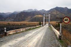 Roadside chevron board and road. Altay, Russia Stock Photos