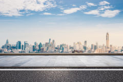 Roadside with cityscape background Royalty Free Stock Photo