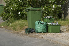 Roadside collection of bins. Royalty Free Stock Image