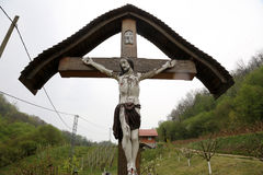Roadside Crucifix Stock Photo