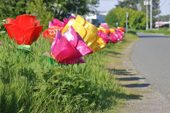 Roadside Display Flowers Stock Images