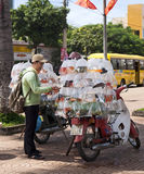 Roadside Fish Sales in Vietnam. A woman looks at the different varieties of fish for sale at a roadside fish store set up on motorbikes in the central square of Royalty Free Stock Photo