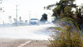 Roadside grass fires. Royalty Free Stock Photos
