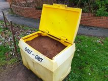 Roadside grit and salt bin with lid open royalty free stock photos