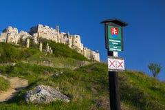 Roadside guide near ruin of Spis Castle, Slovakia stock photo
