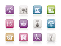 Roadside, hotel and motel services icons. Icon set Royalty Free Stock Photography