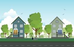 Roadside houses. stock illustration