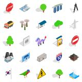Roadside icons set, isometric style Royalty Free Stock Photo