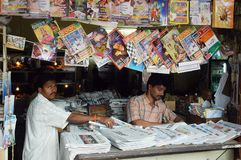 Roadside magazine stall of Goa. Royalty Free Stock Photo