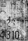Roadside markings. Trains, dumpsters, railroad car identification serial numbers overlaid in black and white stock images