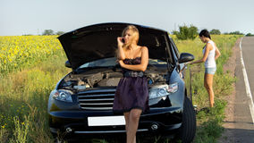 Roadside motor vehicle breakdown Royalty Free Stock Image