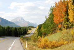 Roadside mountains and forests stock photo