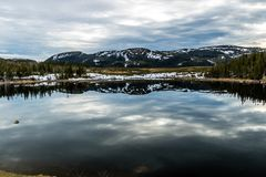 Roadside pond and mountain refelction, Gros Morne National Park, Newfoundland, Canada stock images