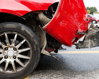 On the roadside a red car hit. The scene of the accident on the road Royalty Free Stock Photo