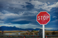Roadside red stop sign Royalty Free Stock Photography