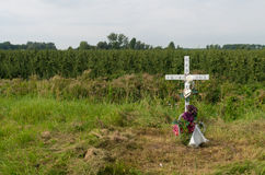 Roadside remembrance cross. Small remembrance cross along a road in the netherlands Stock Image