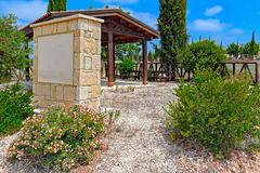 Roadside rest stop on Cyprus. Gazebo at roadside rest stop point ion Cyprus Stock Photo