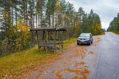 Roadside rest stop on rural road. Gazebo at roadside rest stop point in Finland Stock Image