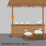 Roadside rice shop. Vector illustration Stock Image