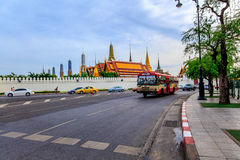 Roadside. Road adjacent Wat Phra Kaew , with buses running every passing day Royalty Free Stock Photo