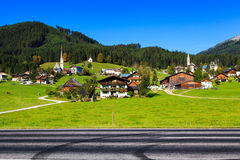 Roadside scene in Gosau Royalty Free Stock Photography